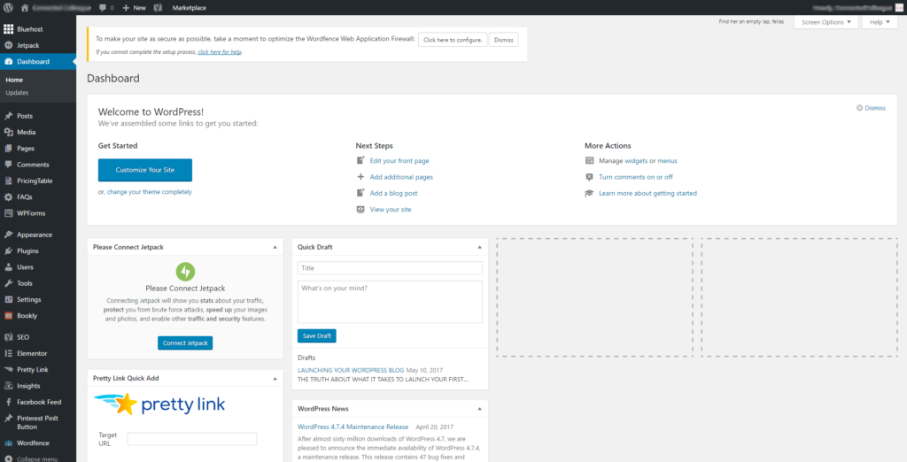 Wordpress Blog: WordPress dashboard