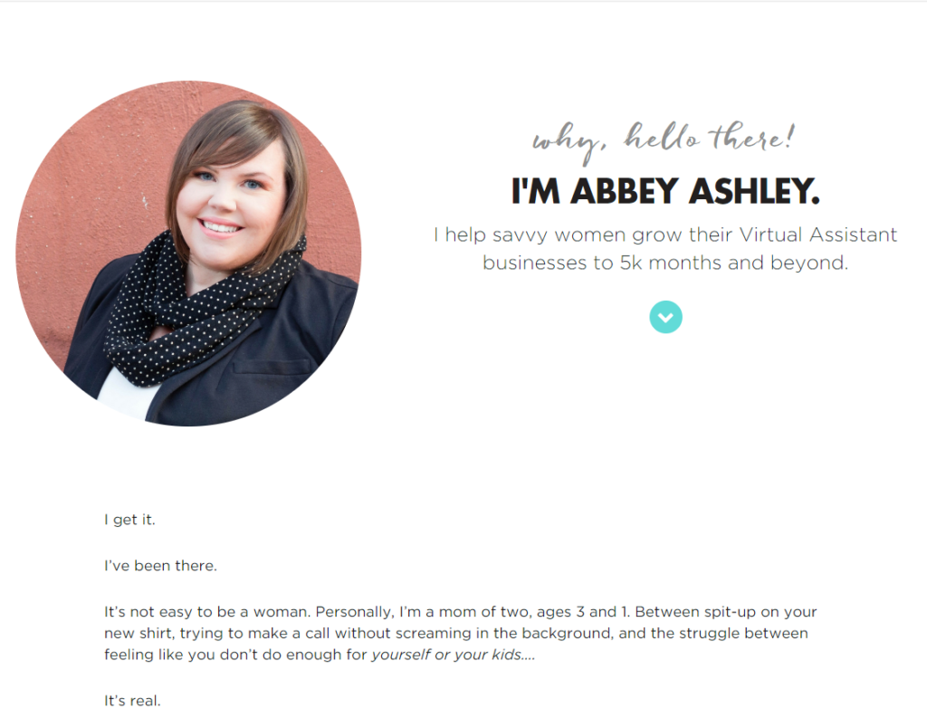 Virtual Assistant Website Fundamentals - About Me Example