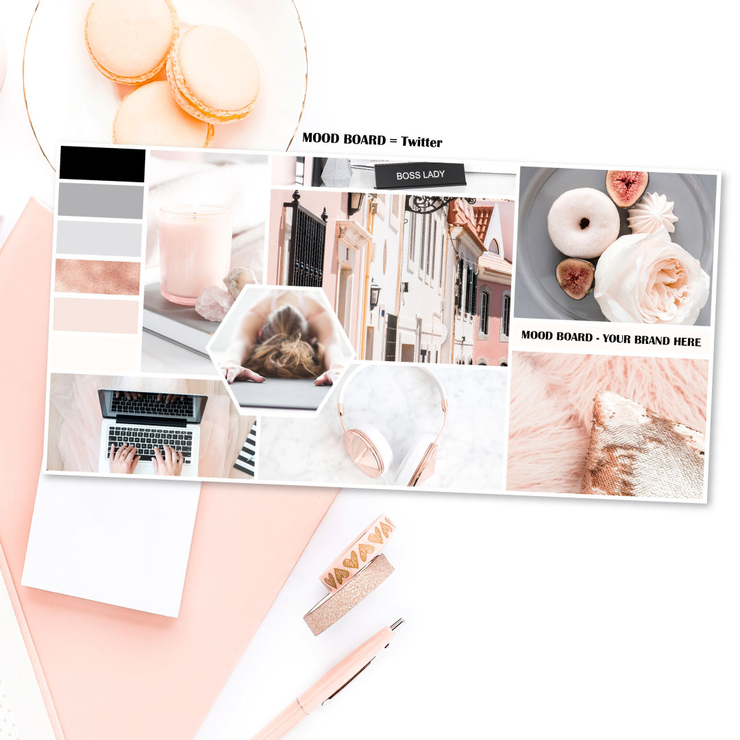 Mood Board Template Black Rose And Rose Gold Connected