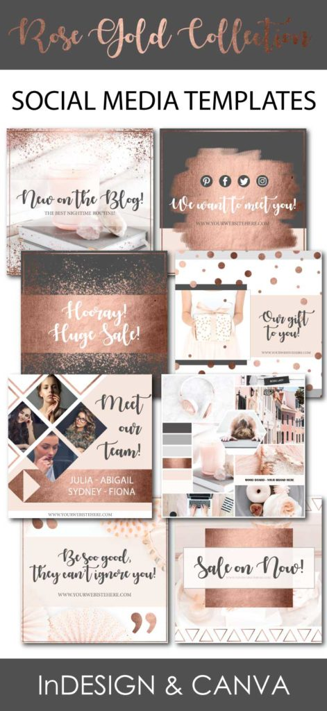 Social media templates pack the rose gold collection connected regular license social media templates rose gold collection maxwellsz